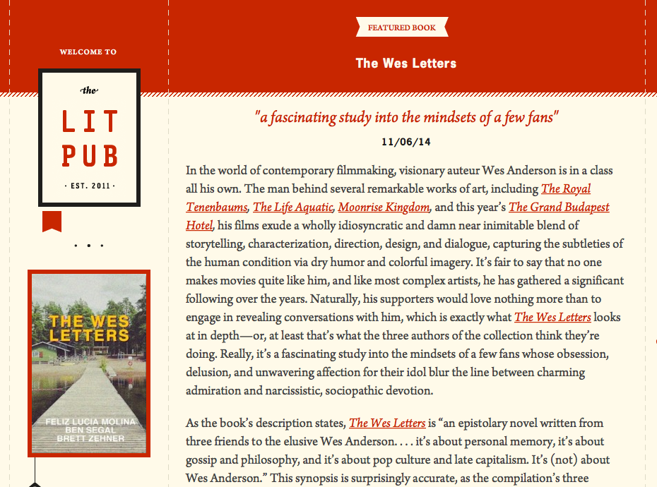 The Lit Pub review of The Wes Letters