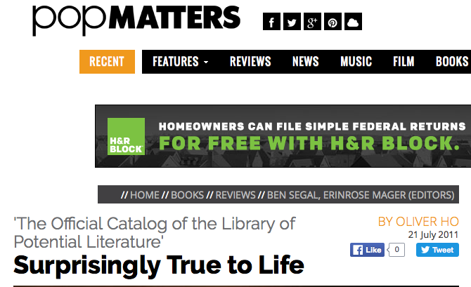 Pop Matters reviews The Official Catalog of the Library of Potential Literature