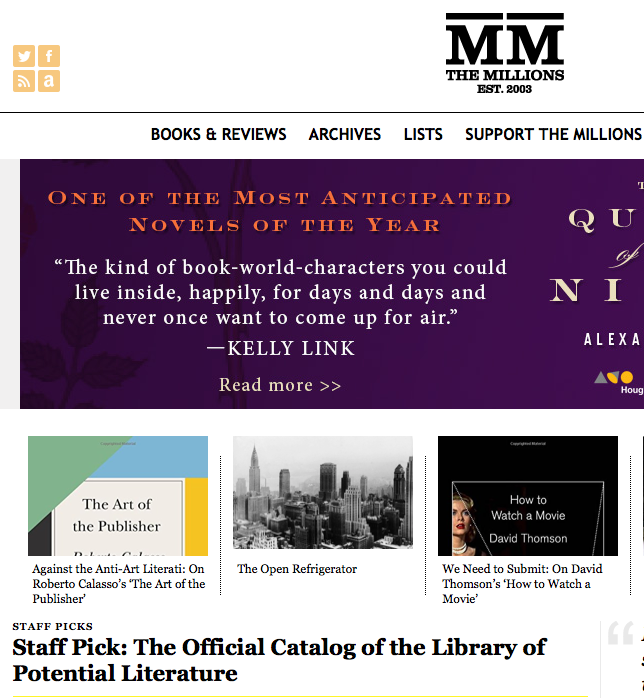 The Millions reviews The Official Catalog of the Library of Potential Literature