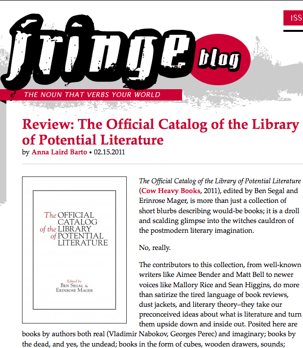 Sundress Publications Fringe review of The Official Catalog of the Library of Potential Literature