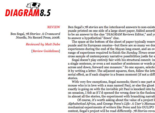 78 Stories: Crossword Novella review in Diagram