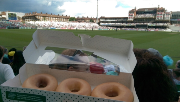 Krispy Kremes whilst drinking beer & watching cricket... definitely not necessary (but damn tasty!)