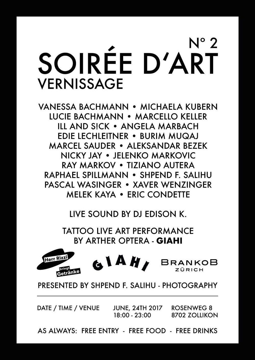 Programm mit allen Künstlern Soirée d `art nr.2