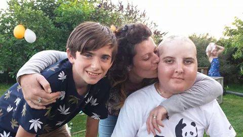 Jonah with his cousin Dylan and Mum Sonia - during a brief visit home - Summer 2014
