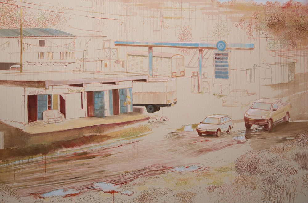 "Gas station in Kimende,  2016, oil on canvas, 48"" x 72"""