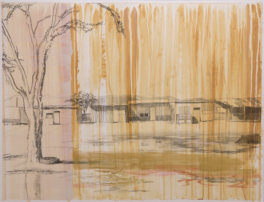 "Housing near Lake Elementaita,  2016,  acrylic on paper, 20"" x 26"""
