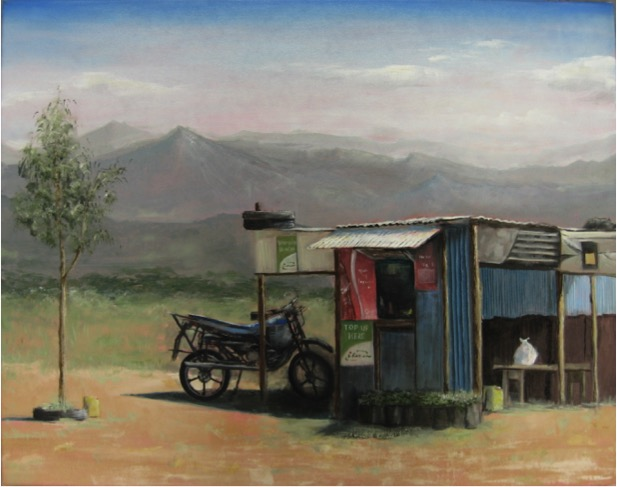 "Kiosk,  2015, oil on canvas, 13"" x 22"""