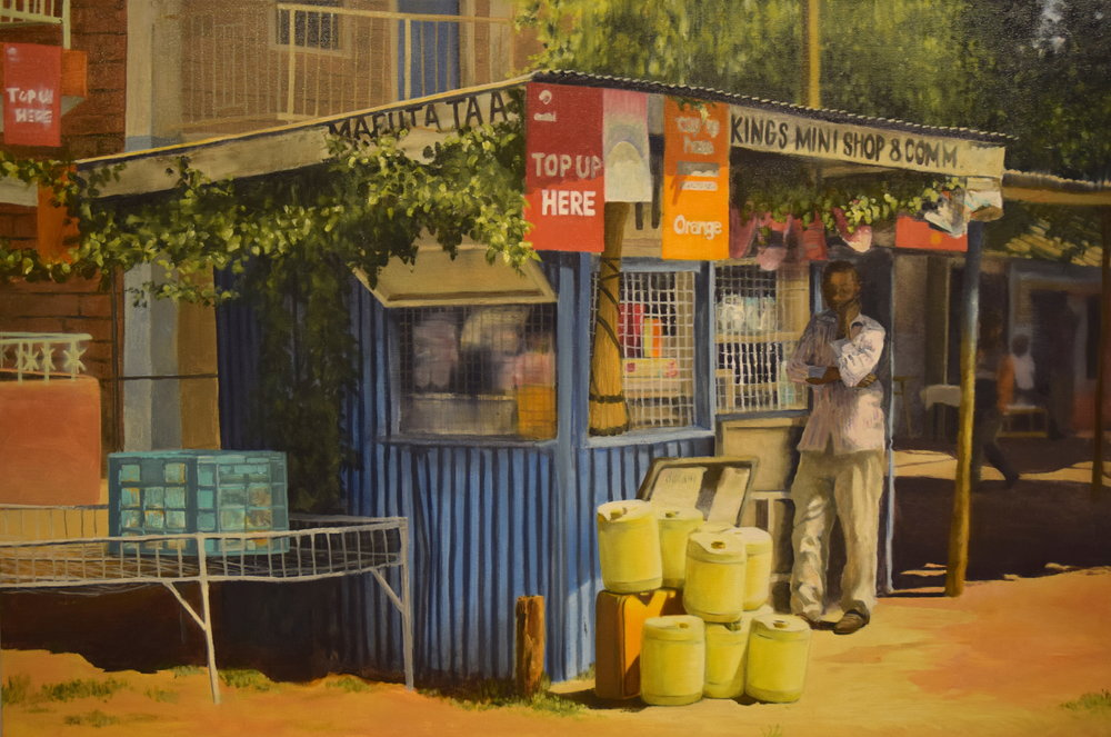 "King's Mini Shop,  2016, oil on canvas, 30"" x 45"""
