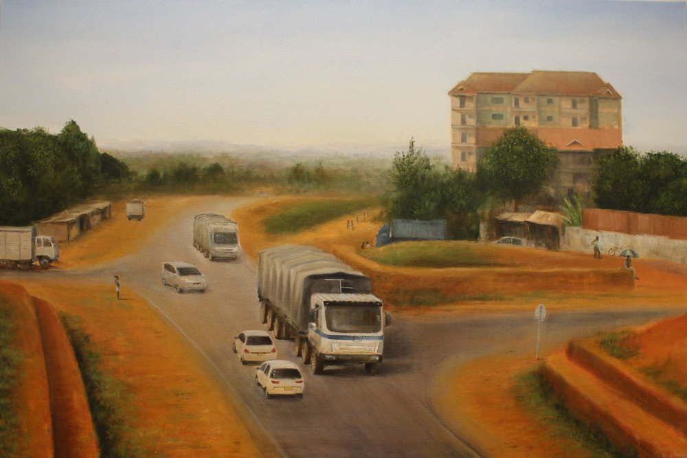 "Naivasha Road, Nairobi, 2015, oil on canvas, 24"" x 36"""