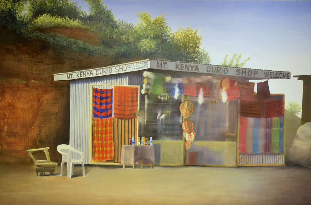 "Mt. Kenya Curio Shop, 2016, oil on canvas, 48"" x 72"""