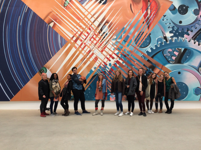 Painting students pictured at a James Rosenquist exhibition, Galerie Thaddaeus Ropac, Paris