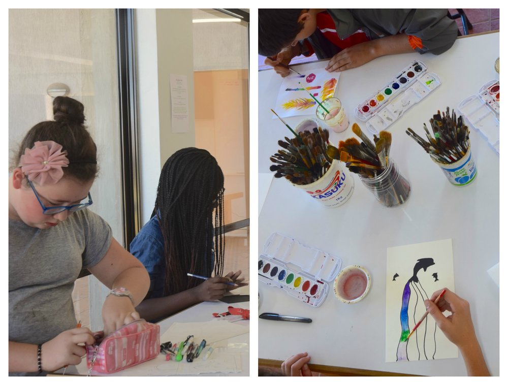 7th grade students work with watercolors in an introductory art class.