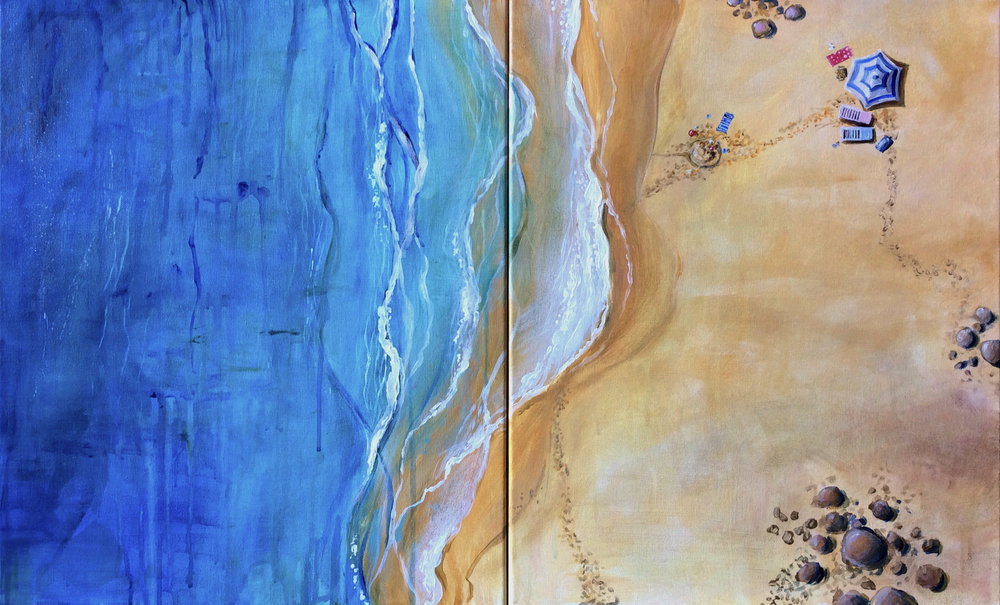 "Aerial Beachscape Diptych,  2017, acrylic on canvas, 20"" x 32"""