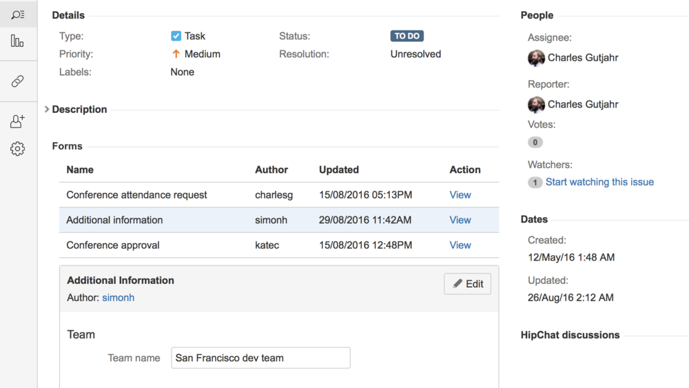 ProForma forms can be attached to JIRA issues