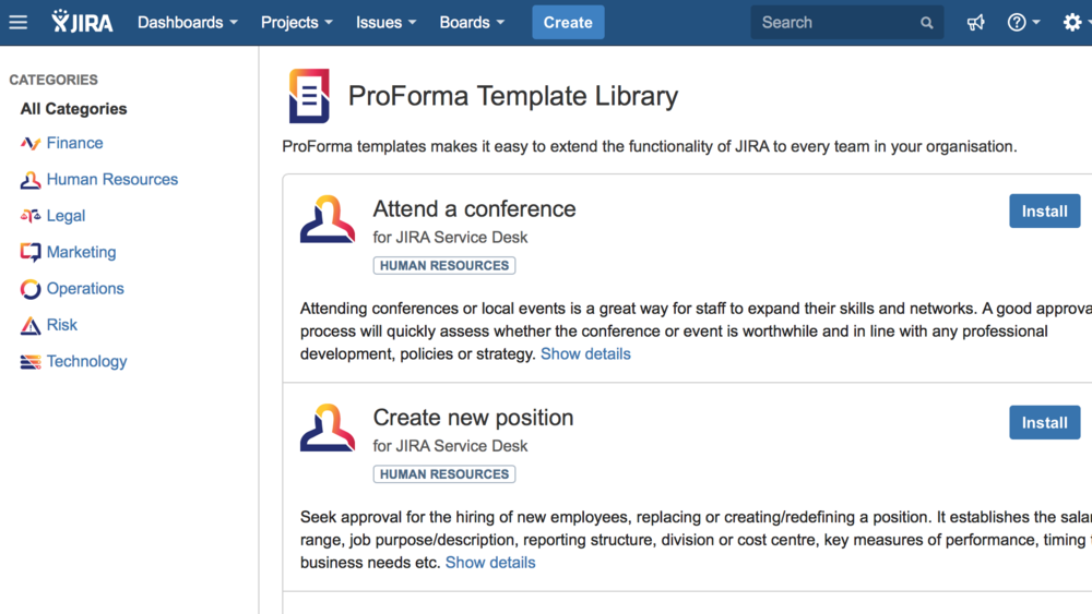 ProForma's template library contains many template processes and associated forms