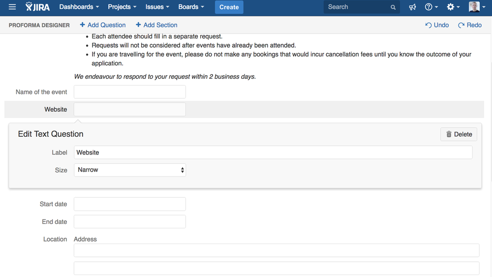 ProForma's form editor is simple and easy to use