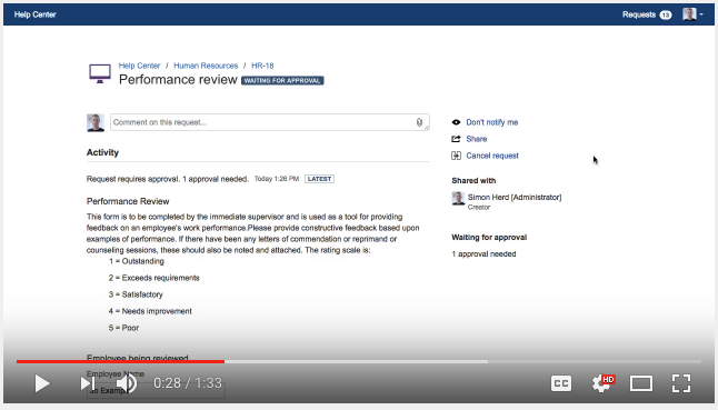 Demonstration Video - See an example of using Jira and ProForma to do employee performance reviews.