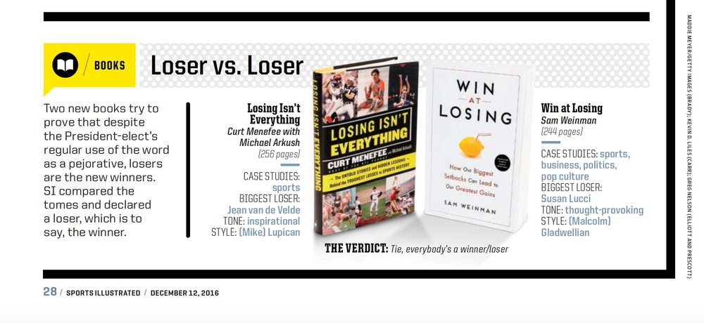 WIN AT LOSING featured in Dec. 12 issue of Sports Illustrated