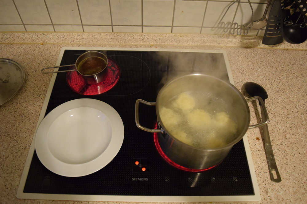 The dumplings expand a bit in the water so don't dump them all in together.