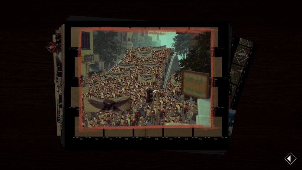 One of the many photos you take during the game, showing mass street demonstrations.