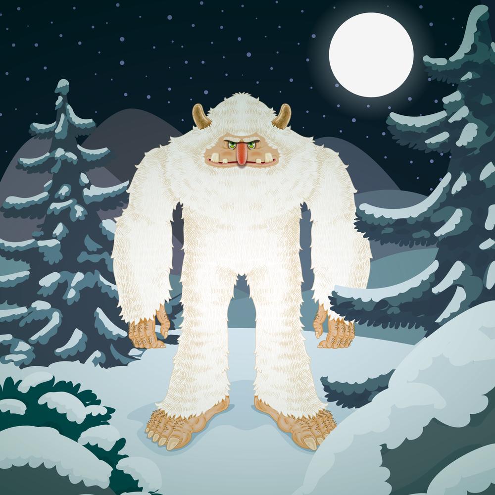 Lumimies luontaisessa ympäristössään.