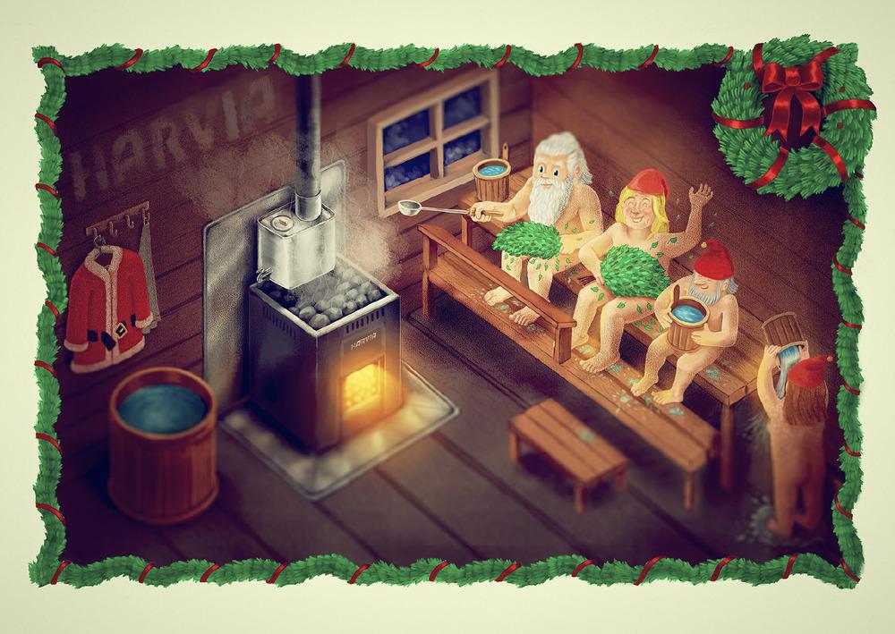 Valmis kuvitus toteuttiin digitaalisena maalauksena. Joulusaunassa on tunnelmaa.