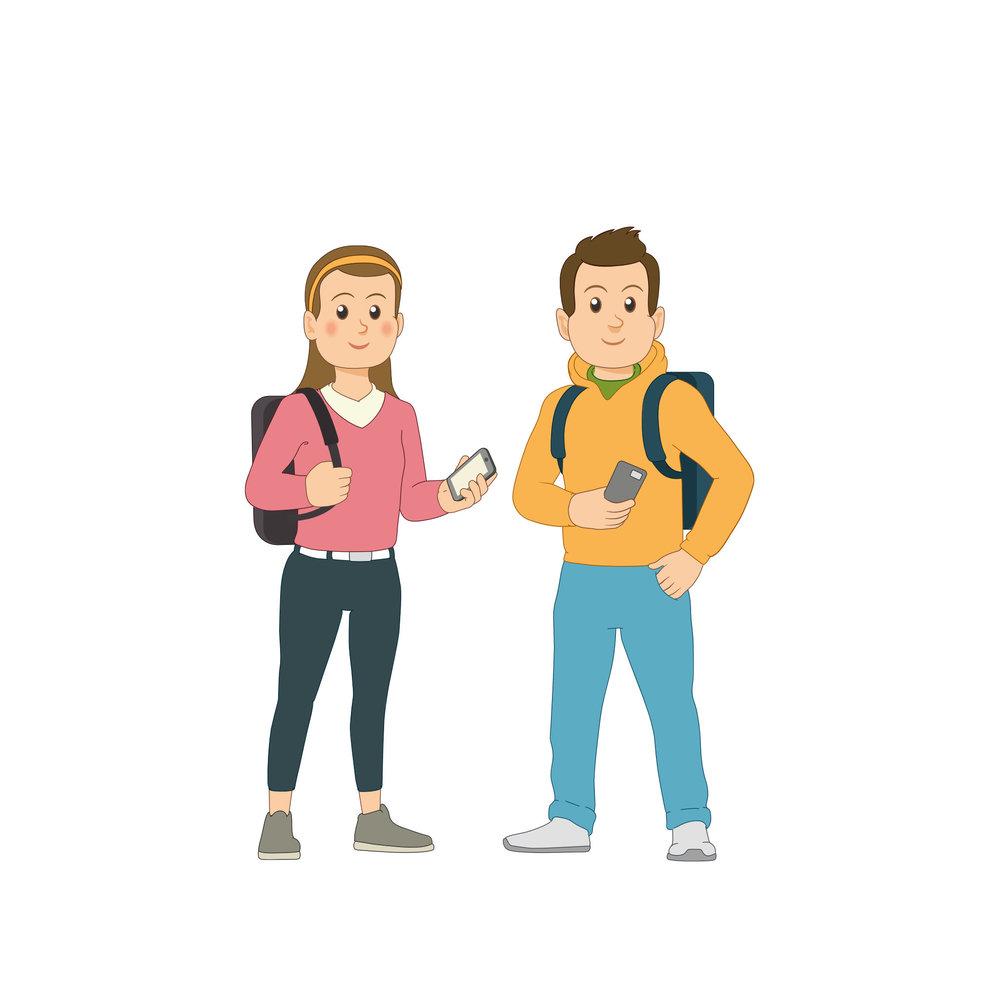 Linkki-matkustajia: nuori tyttö ja poika