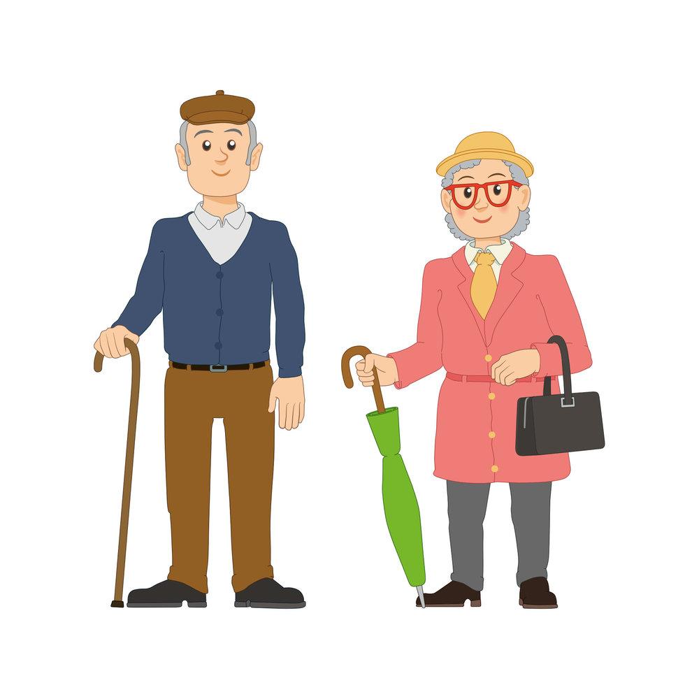 Linkki-matkustajia: seniorimies ja nainen