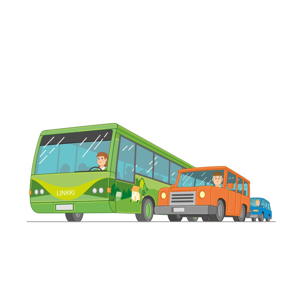 Linkki-Bussi-liikenteessä