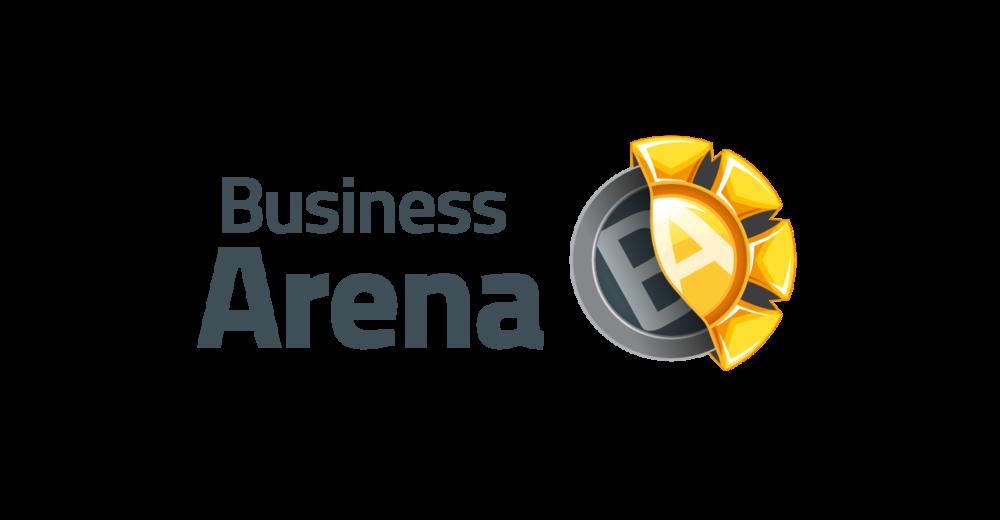 """Logon symboliikka  Tekstilogon oikealla puolella sijaitseva merkki koostuu kahdesta elementistä: Business ja Arena. Harmaansävyinen, neutraali, pyöreä ja säännöllinen, B-kirjaimen ympärille rakentuva elementti kuvastaa business-ulottuvuutta: osaaminen, kokemus ja luotettavuus yhdistyvät kovaan liiketoimintaosaamiseen. Keltasävyinen, muodoltaan epäsäännöllisempi, A-kirjaimen ympärille muodostuva elementti kuvaa iloisuutta, energisyyttä, positiivisuutta ja vetovoimaa sekä jatkuvaa liikettä ja uuden oppimista. Harmaa business-elementti ja kellertävä arena-elementti kohtaavat muodostaen uuden elementin, suojaisan pyöreän muodon, eräänlaisen BA:n, joka on avoin tiedon virtaukselle ja vuorovaikutukselle. Keltainen kuori on on kietoutunut harmaan ytimen ympärille: osaaminen on paketoitu iloisiin ja energisiin kuoriin. Keltaisen elementin neljä """"sakaraa"""" viittaavat Business Arena Oy:lle tärkeisiin teorioihin (4E, Nonakan ba:n neljä perusolemusta sekä SECI-prosessin neljä vaihetta)."""
