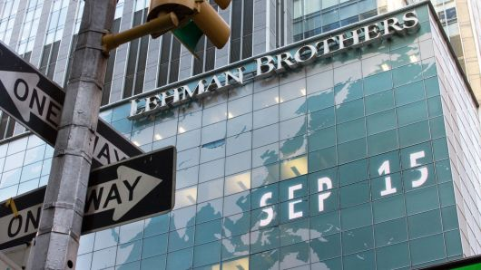 September 15, 2008, the day the 150-year-old Lehman Brothers declared bankruptcy. (CNBC)