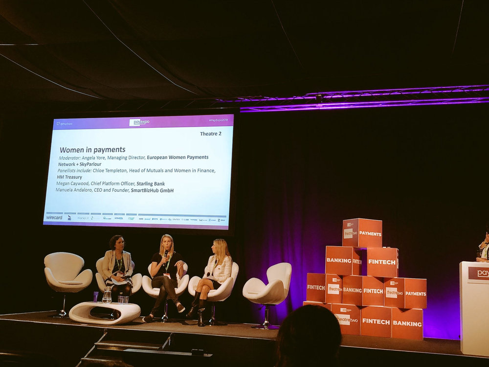Payexpo 2018, London. Panel with Chloe Templeton, Megan Caywood, Manuela Andaloro, moderated by Angela Yore