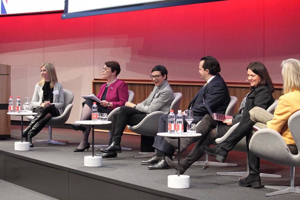 Panel discussion with (left) Manuela Andaloro, Catherine McGuinness, Maria Leistner, David Bundi, Angela Yore, Petra Arends-Paltzer