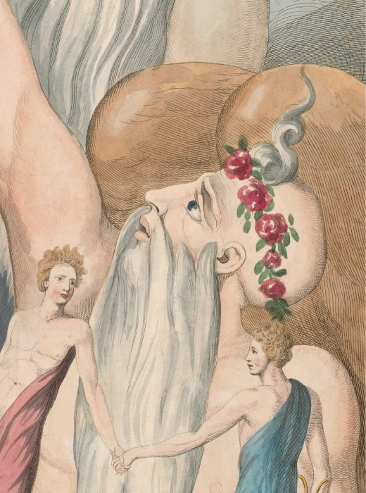 Detail of Time's forelock from William Blake's 'Young's Night Thoughts' (page 17), circa 1797.