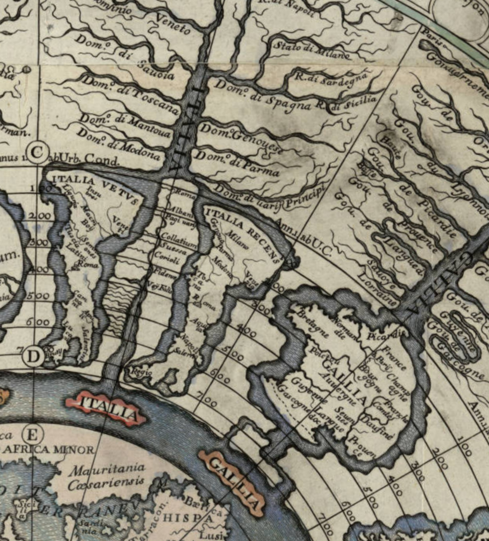 Detail from Girolamo Andrea Martignoni's 1718 chronographic map of the history of the Roman empire,  Imago Romani imperii .