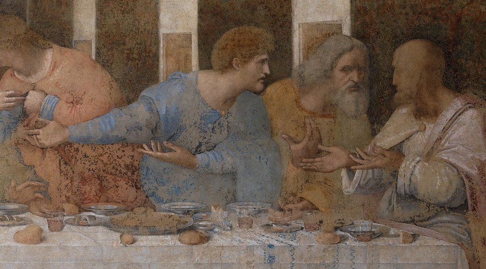 A detail from Leonardo's  The Last Supper,  showing three apostles producing gestures with the palms turned up .  Palm-ups like these are ubiquitous in gesture and sign around the world, but their meanings and origins remain a puzzle. Read the article   here  .