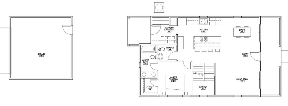 Main Level - At 1,138 square feet plus a 2 1/2 car garage with over 484 square feet, this ingenious plan works for everyone from Empty Nestors to growing families. The open concept living surrounds the kitchen while still allowing for a private main level master suite and mudroom/laundry room.