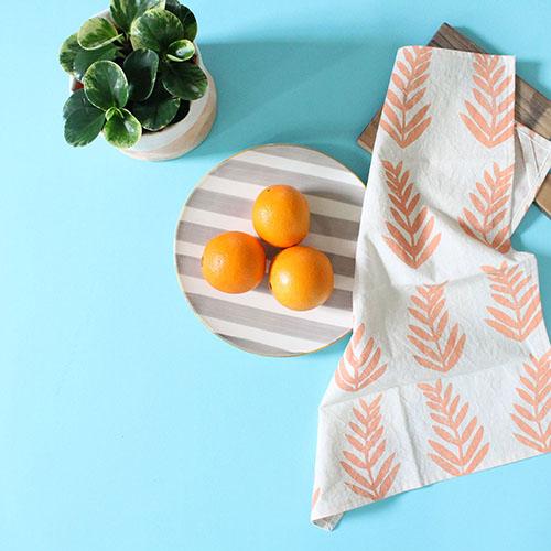table linens - organic cotton/hemp blend - block printed & hand dyed - tea towels $20 - dinner Napkins s/4 $35 - cocktail napkins s/4 $25
