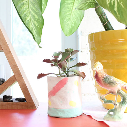 planters & hanging planters - various sizes - block printed & hand dyed on org. cotton / hemp / recycled polyester blends - $15 - $30 ***will include plants**