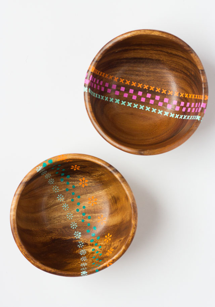 DIY PAINTED WOOD BOWLS - DESIGN IMPROVISED