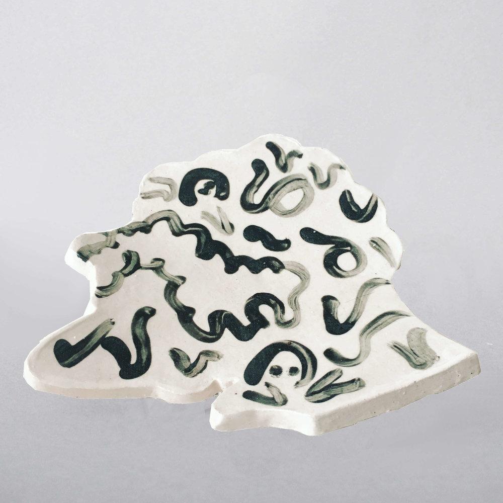Head 3 , 15 x 14 x 1cm, stoneware, glazed ceramic