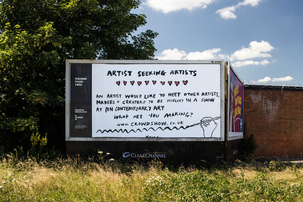Crowd Show Billboard , Northampton, 2018, commissioned as part of In Another Place Billboard project, leading into 'Crowd Show' at NN Contemporary (Sept-Nov 2018)