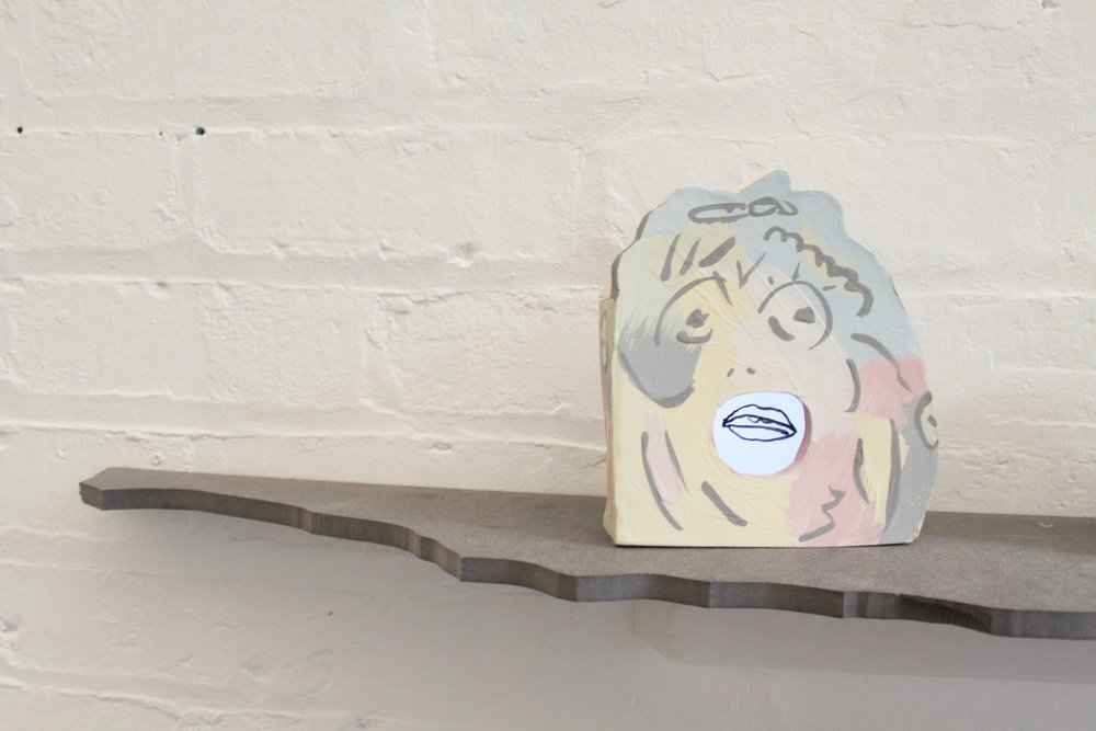F. U. Vase , Animation and Ceramic, 2018, installation photograph from 'GU Women' at Modern Clay