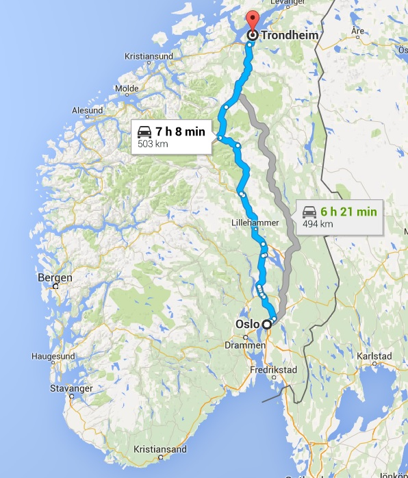 First part of the trip went from Oslo to Trondheim. Courtesy of Google Maps.