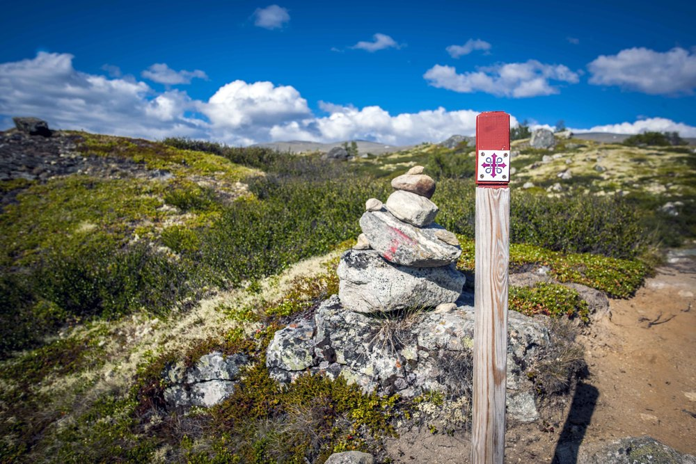 Trails are well marked in Norway. The pilgrimage route (Pilegrimsleden) from Oslo to Trondheim has its own symbol looking like this.