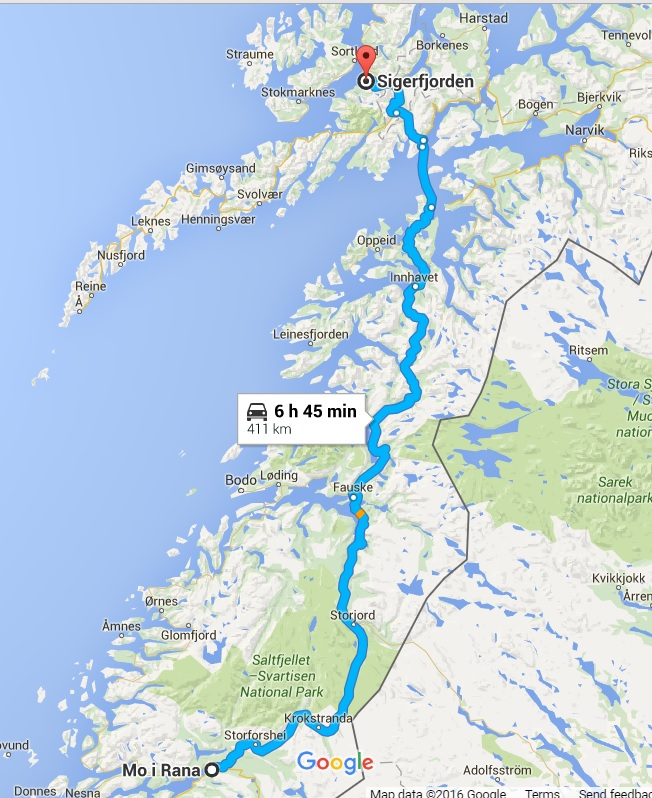 Route for day 4, the last day. Crossing the arctic circe and finally arriving at our summer house. Source: Google Maps