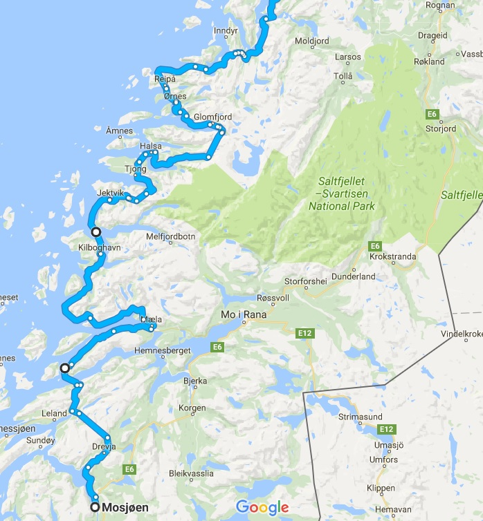 One of many alternative routes to follow north. We took this route last year. Source: Google Maps