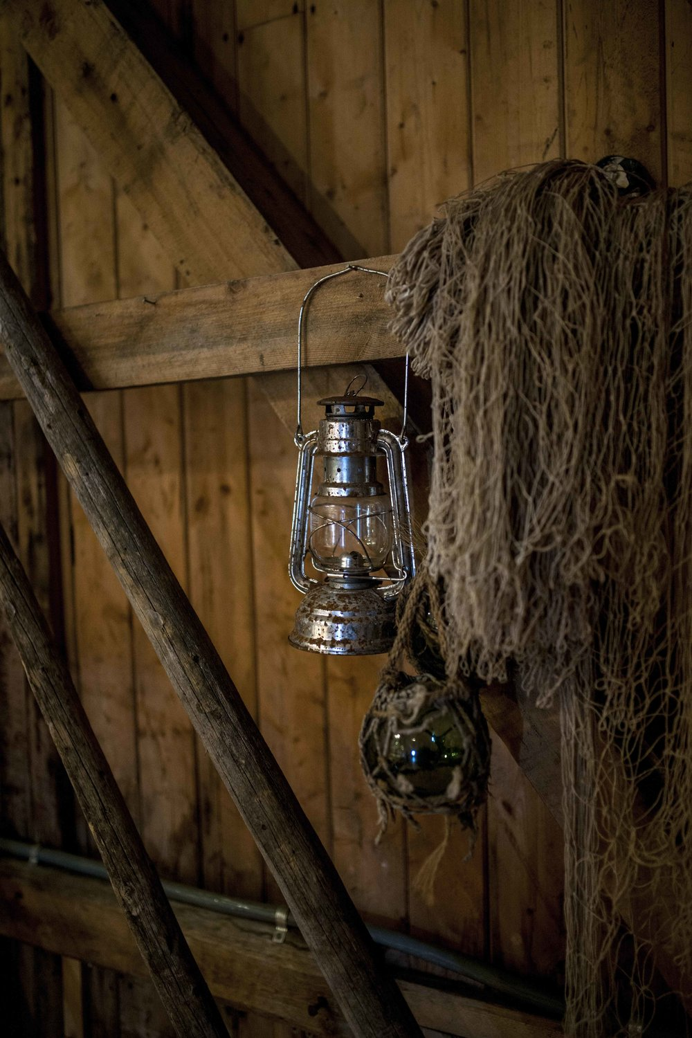 Old lamps and fishing nets at Ekkerøy