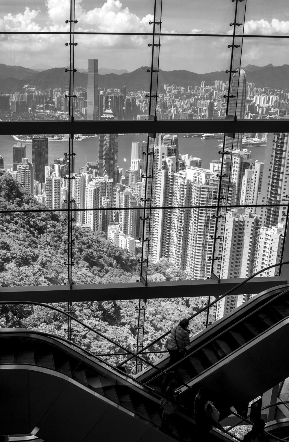 View from escalators in Victoria Peak shopping centre
