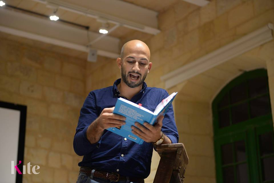Thomas Camilleri reading from the book during the launch